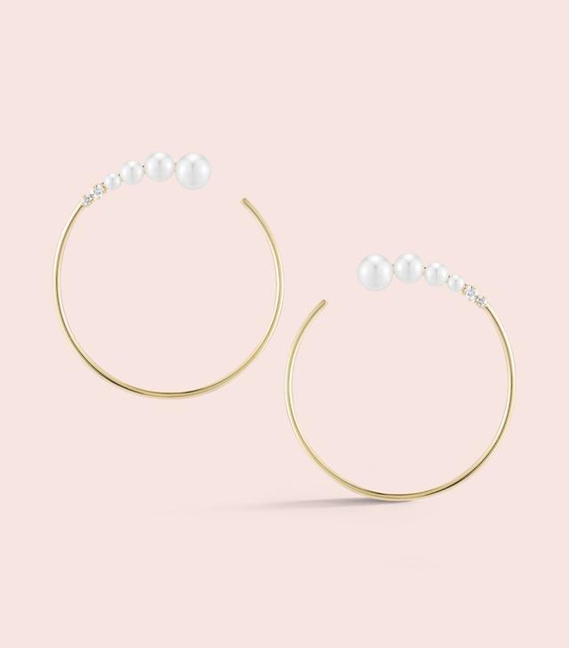 Jemma Wynne Prive White Pearl and Diamond Hoops