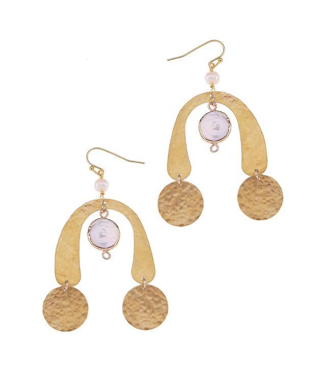 Brass Coin & Freshwater Pearl Statement Earrings