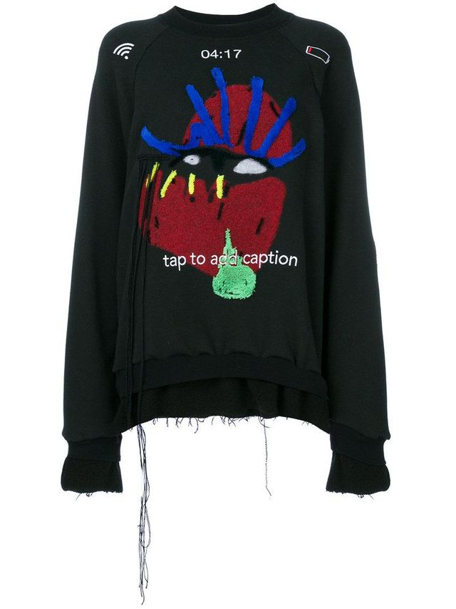 graphic applique detail sweatshirt