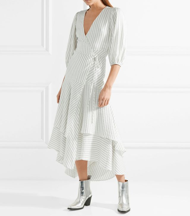 Wilkie Striped Silk And Cotton-blend Seersucker Wrap Dress