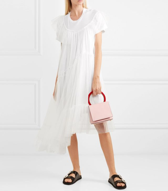Layered Cotton-jersey And Tulle Dress