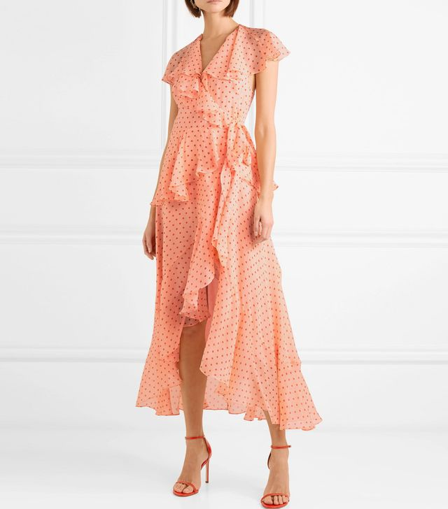 Ruffled Polka-dot Silk-chiffon Wrap Dress