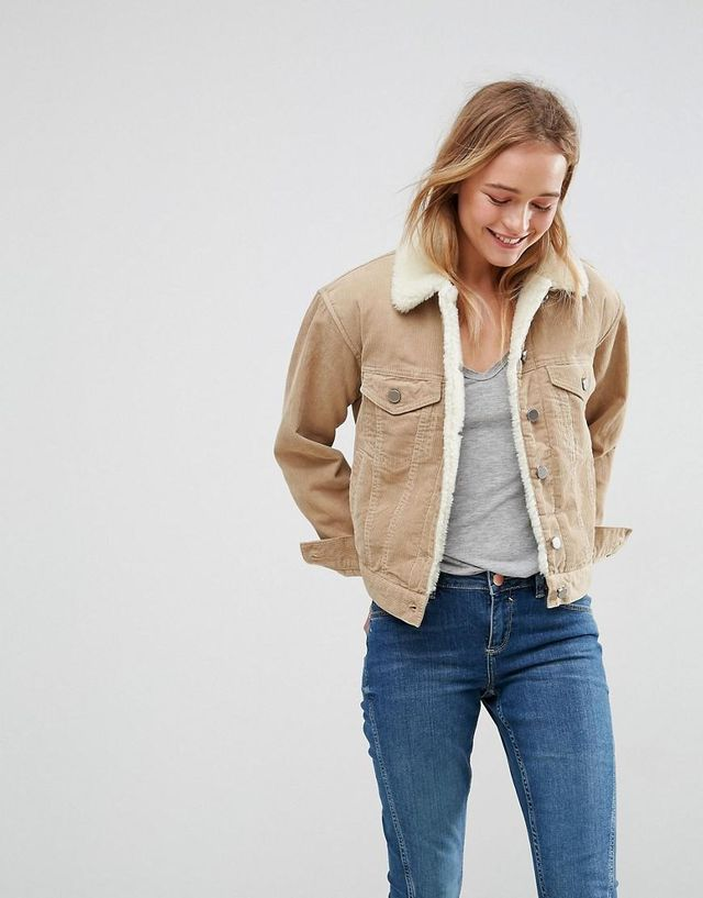 DESIGN cord jacket with fleece collar in stone