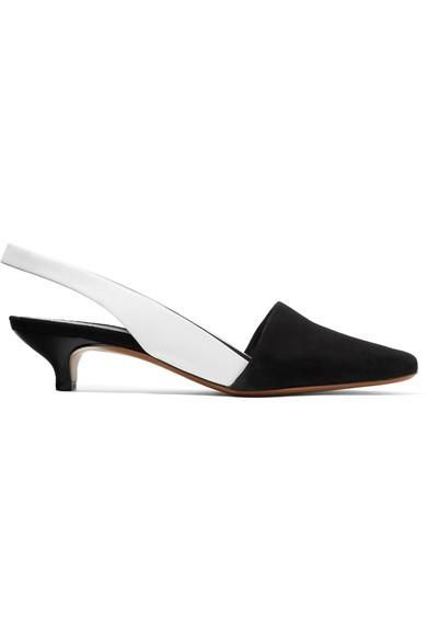 Podium Suede And Leather Slingback Pumps