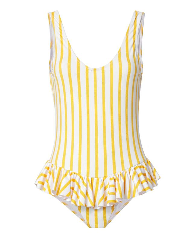 Caroline Constas Mer Tinos Polka Dot Striped One Piece Swimsuit Pattern M