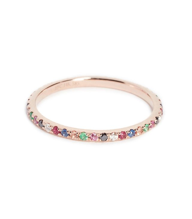 14k Rose Gold Rainbow Eternity Band