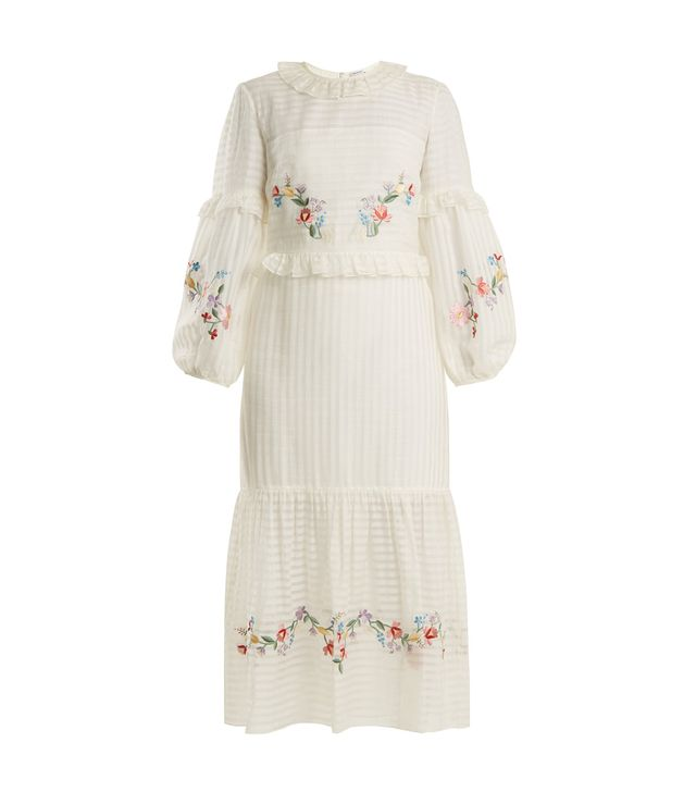 Adeline floral-embroidered cotton-blend dress