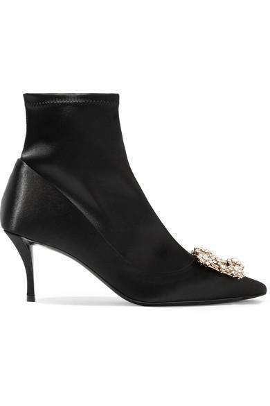 Crystal-embellished Silk-satin Sock Boots