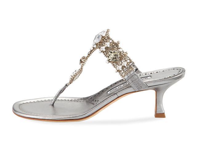 Manolo Blahnik Immro Jeweled Thong Sandal