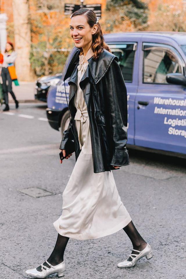 <p>Leave it to Alexa Chung to soften up an otherwise tough leather jacket.</p>