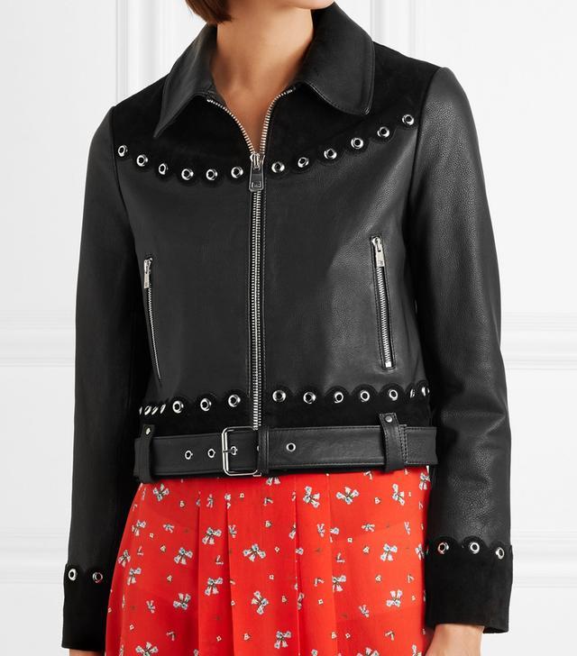 Embellished Suede-Trimmed Leather Jacket