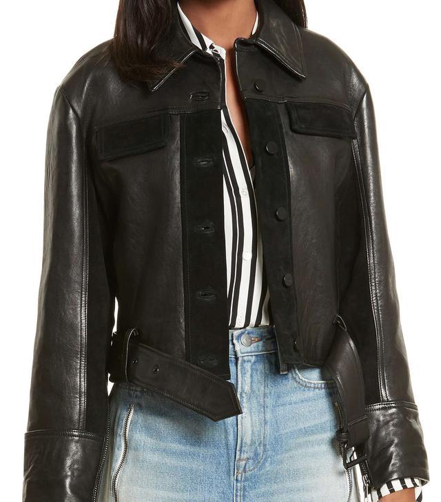 Frame Paneled Leather & Suede Jacket