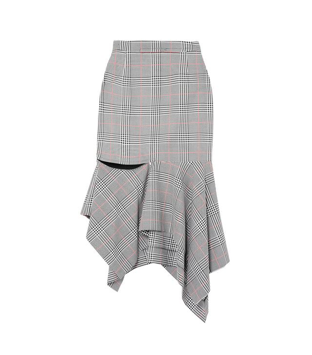 Ruffled Prince of Wales Checked Woven Skirt