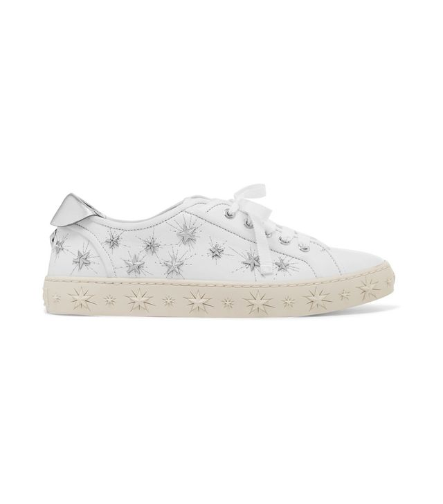 Cosmic Stars Embellished Leather Sneakers