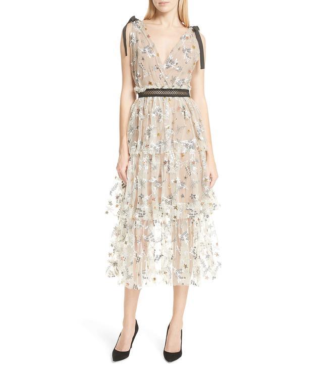 Sequin Mesh Tie Strap Midi Dress
