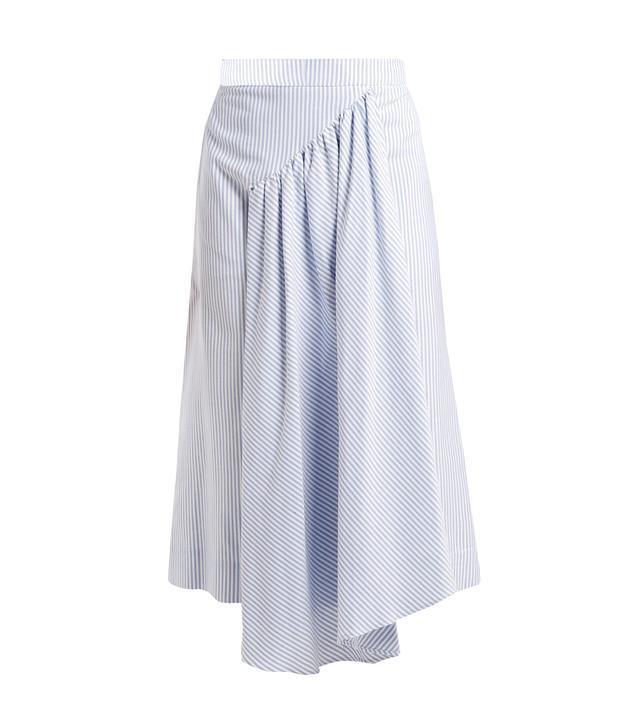 Pleat-Front Striped Cotton Midi Skirt