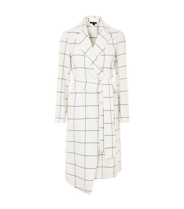 Topshop Belted Checked Coat