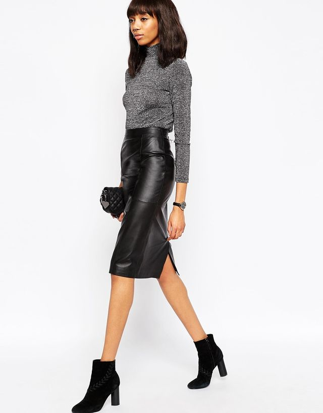Midi Pencil Skirt in Leather