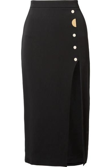 Dahlia Embellished Stretch-Silk Crepe Pencil Skirt