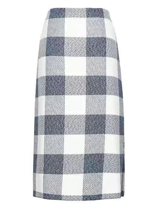 Gingham Pencil Skirt With Side Slit Blue
