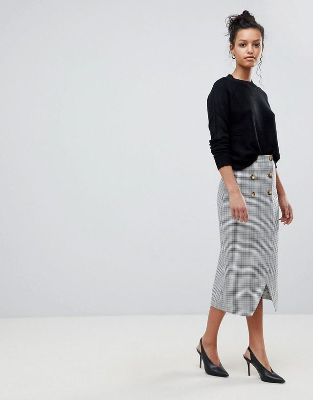 Double Breasted Pencil Skirt in Check