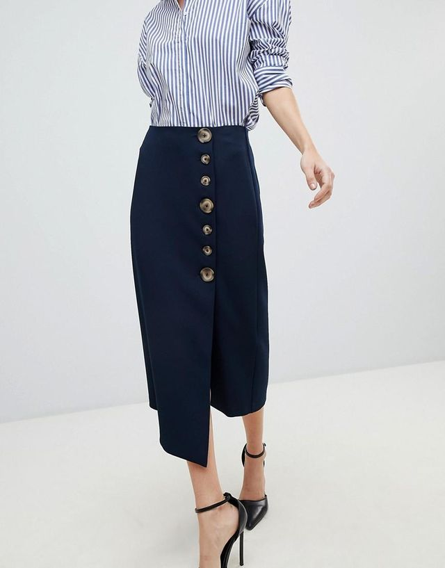 Side Button Pencil Skirt With Asymmetric Hem