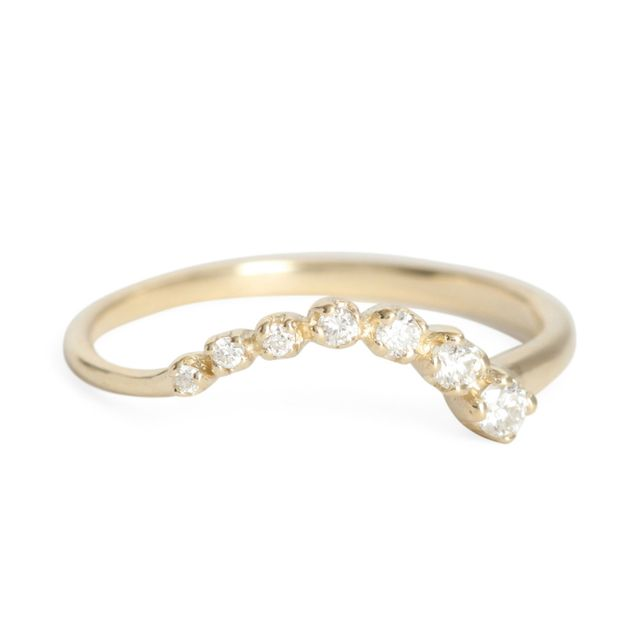 N + A Curved Diamond Shooting Star Ring