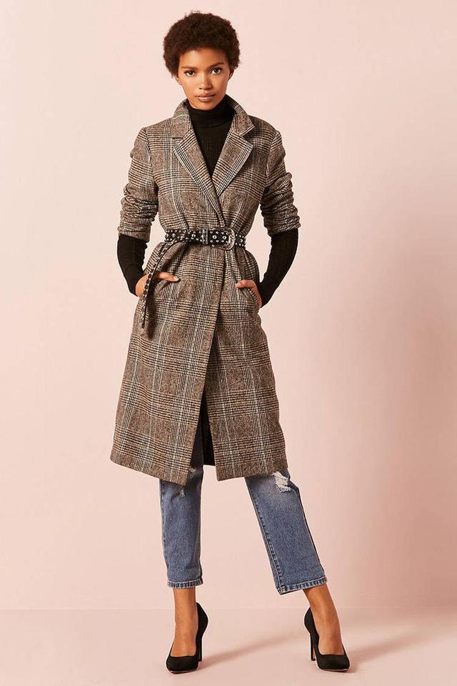 Glen Plaid Wool-Blend Longline Coat