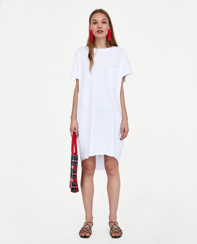 Zara Long T-Shirt With Pocket