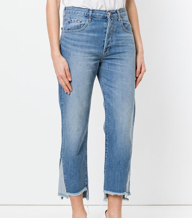 cropped stepped hem jeans