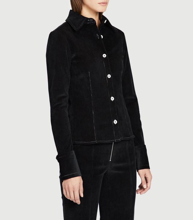 Frankie Black Corduroy Contrast Stitch Shirt