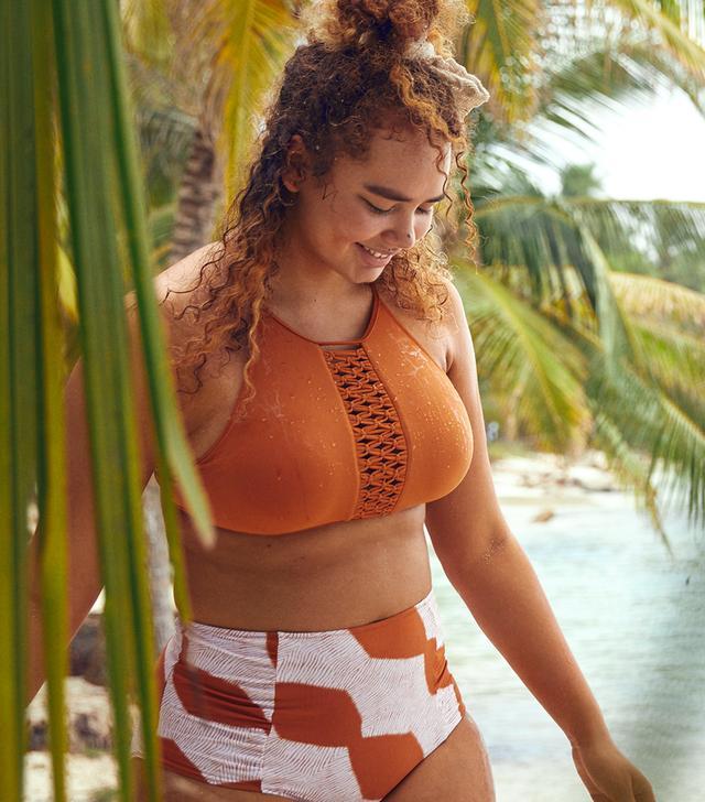 Aerie Macramé High-Neck Bikini Top