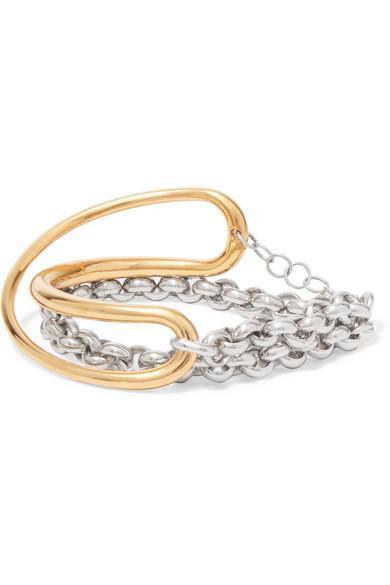 Charlotte Chesnais Initial Gold Vermeil and Silver Bracelet