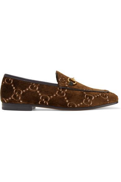 Jordaan Horsebit-detailed Leather-trimmed Logo-jacquard Loafers