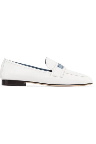 Logo-print Textured-leather Loafers