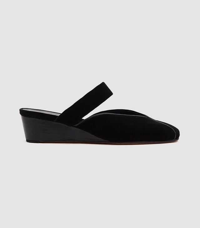Babouche Slide in Black Velvet