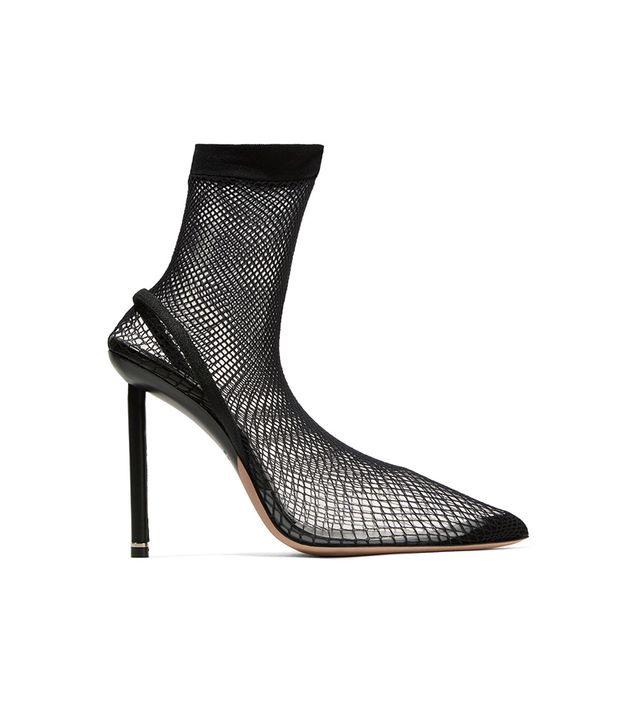 Caden Suede And Leather-trimmed Fishnet Sock Boots