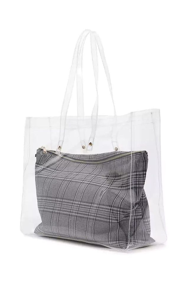Clear Tote & Glen Plaid Pouch