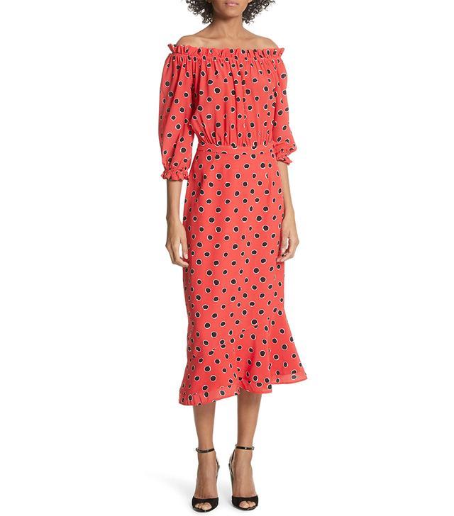 Women's Saloni Grace Print Silk Off The Shoulder Dress