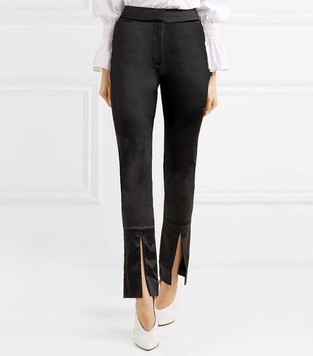 Lenae Satin Slim-leg Pants