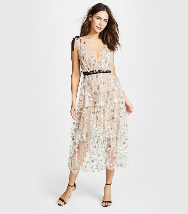 Star Mesh Midi Dress