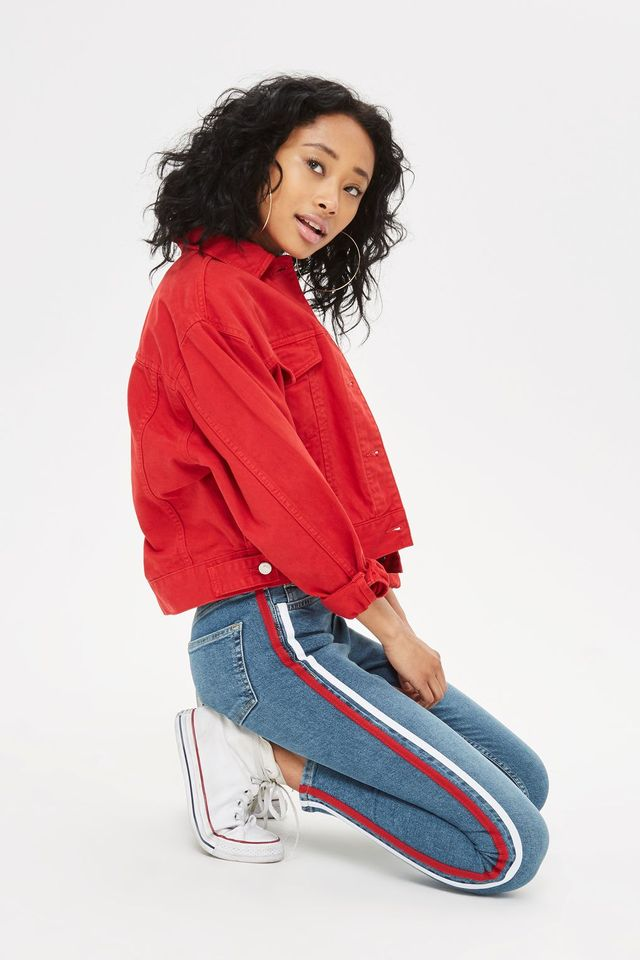 Topshop Moto Red Stripe Jamie Jeans