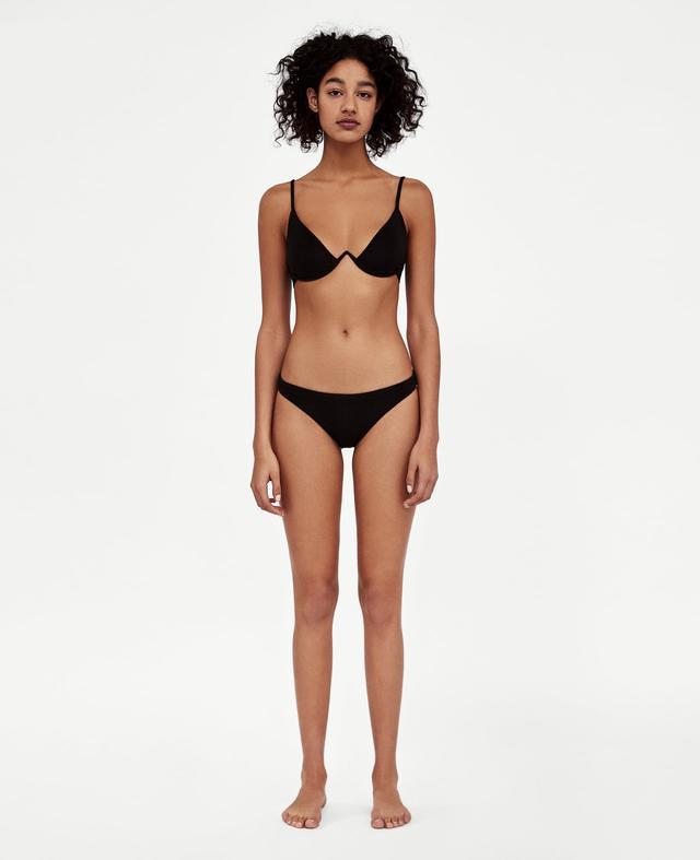 Zara V-Neck Textured Weave Bikini Top