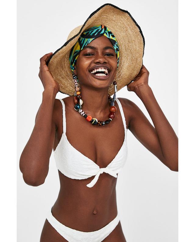 Zara Floral Textured Bikini Top