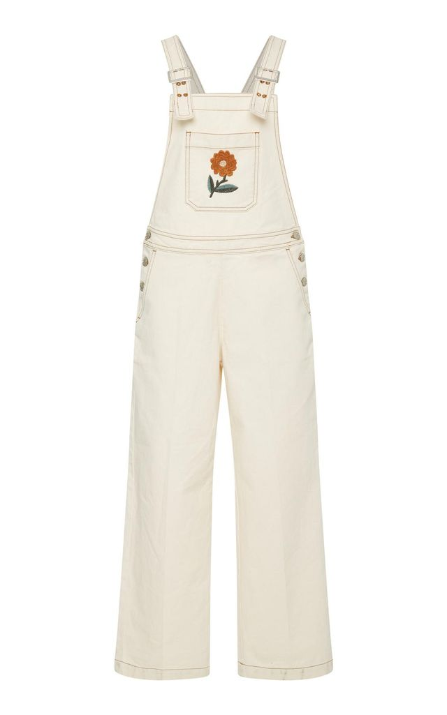 Oversized Embroidered Flower Dungarees