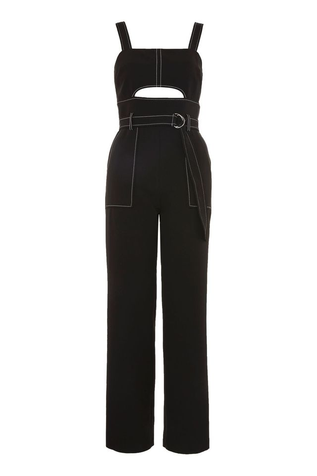Topstitch Belted Jumpsuit