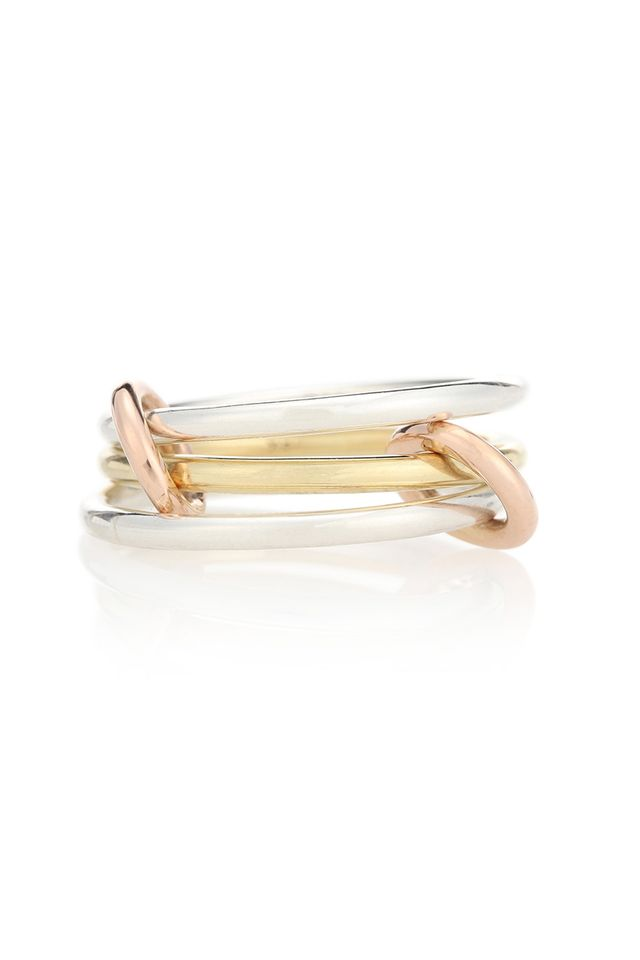 Spinelli Kilcollin Solarium Sterling Silver and 18kt Yellow And Rose Gold Linked Rings