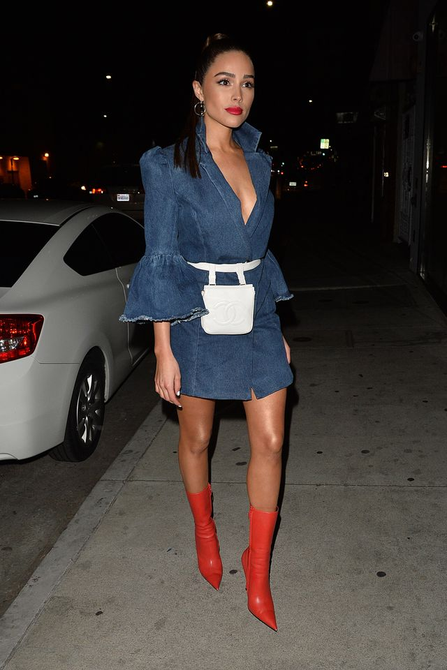 Denim Dress + Belt Bag + Bright Ankle Boots