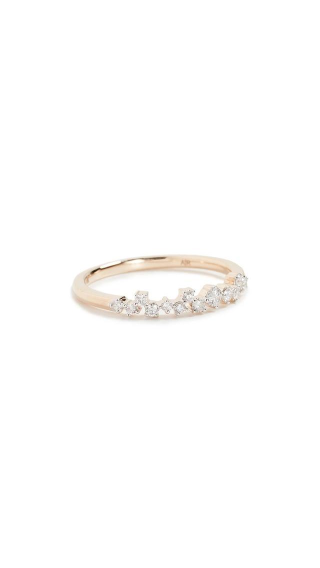 14K Gold Extended Scattered Diamond Ring