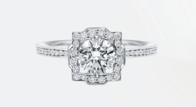 Harry Winston Belle Round Diamond Micropavé Engagement Ring